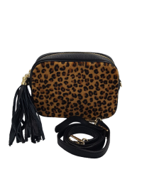 MADE IN ITALY Τσάντα 04321 BLACK LEOPARD